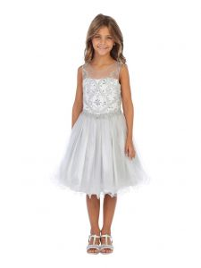 Angels Garment Girls Silver Beaded Tulle Corset Back Party Dress 6-16