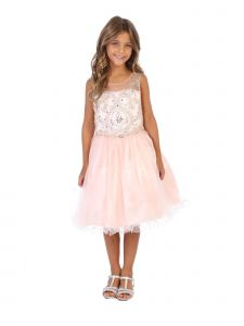 Angels Garment Girls Blush Beaded Tulle Corset Back Party Dress 6-16