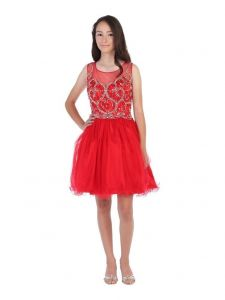 Angels Garment Juniors Red Beaded Tulle Corset Back Party Dress XS-2XL
