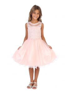 Angels Garment Big Girls Blush AB Stone Applique Tulle Party Dress 6-16