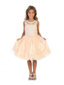 Angels Garment Big Girls Champagne AB Stone Applique Tulle Party Dress 6-16