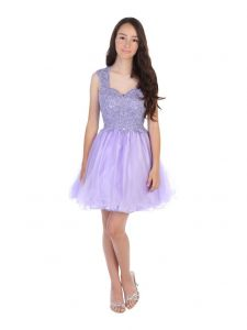 Angels Garment Juniors Lilac AB Stone Applique Tulle Party Dress XS-2XL