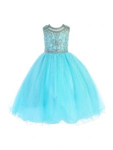 Angels Garment Big Girls Aqua Bead Detailed Tulle Flower Girl Dress 7-8