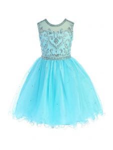 Angels Garment Girls Aqua Beaded Ankle Length Special Occasion Dress 6-16