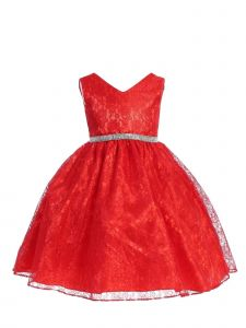 Ellie Kids Girls Multi Color Lace Sleeveless Rhinestones Christmas Dress 4-14