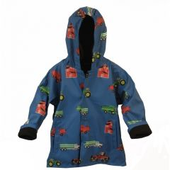 Foxfire Big Boys Blue Farm Equipment Print Hooded Raincoat 8-10