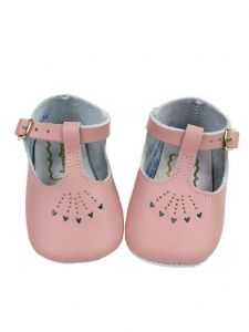 Foxpaws Baby Girls Pink T-Strap Style Heart Cutout Soft Sole Crib Shoes 3-5