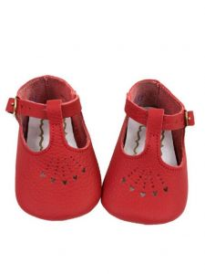 Foxpaws Baby Girls Red T-Strap Style Heart Cutout Soft Sole Crib Shoes 3-5