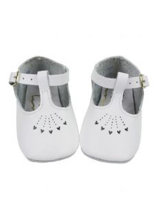 Foxpaws Baby Girls White T-Strap Style Heart Cutout Soft Sole Crib Shoes 3-5