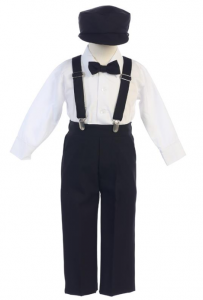 Little Boys Black Adjustable Clip-On Suspender Pants Hat Set 2T-7