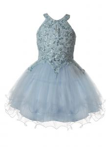 Girls Multi Color Halter Neck Rhinestone Party Tulle Flower Girl Dress 2-16