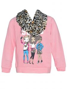 Little Girls Coral Long Sleeve Girl Squad Fall Sweater Leopard Scarf Set 4-6X