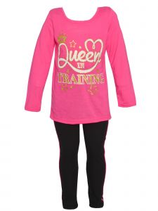 Girls Long Sleeve Queen in Training Top Leggings 2pc Fall Outfit 12M-6X