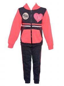 Girls Pink Little Girls Black 2pc Love Sequin Hooded Jacket Pants Outfit 12M-6X