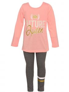 Little Girls Peach Gray Future Queen Long Sleeve Top Leggings Fall Outfit 2T-6X