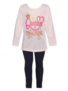 Little Girls White Pink Long Sleeve Queen in Training Top Leggings Outfit 2T-6X