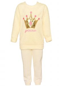 Girls Multi-Color  Princess Fuzzy Long Sleeve Sweatshirt Pants 2pc Outfit 12M-4T
