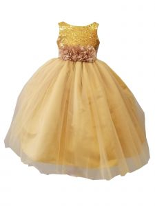 Sinai Kids Big Girls Gold Sequin Tulle Junior Bridesmaid Dress 8-16
