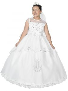 Big Girls White Off Shoulder Butterfly Embroidered Organza Communion Dress 7-18
