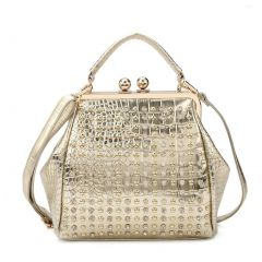 Hearty Trendy Gold Studded Adornment Croc Texture Metal Hinge Fashion Bag