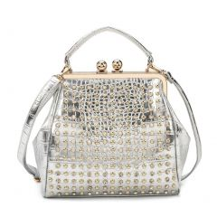 Hearty Trendy  Silver Studded Adornment Croc Texture Metal Hinge Fashion Bag