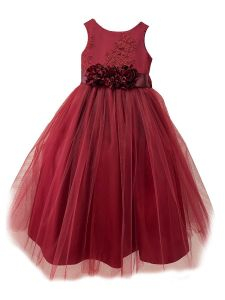 Big Girls Burgundy Lace Rosette Sash Overlaid Junior Bridesmaid Dress 8-14