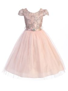 Girls Multi Color Sequin Embroidered Brooch Junior Bridesmaid Dress 2-14
