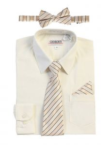Gioberti Big Boys Ivory Shirt Necktie Bow Tie Pocket Square 4 Pc Set 14