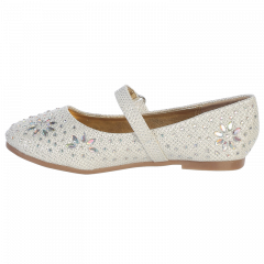 Swea Pea & Lilli Little Girls Ivory Glitter Floral Stud Flat Shoes 5-10 Toddler