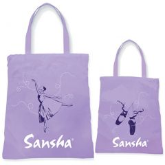 Sansha Girls Purple Ballerina Pointe Shoes Dress Print Dance Tote Bag