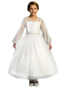 Kids Dream Big Girl White Pearl Mesh Long Sleeve Communion Dress 6-16
