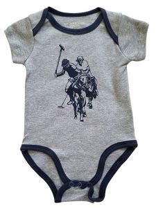 US Polo Association Baby Boys Gray Blue Trim Logo Short Sleeve Bodysuit 3-9M