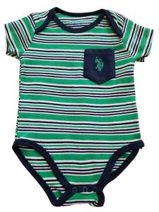 US Polo Assn Baby Boys Green Blue Stripe Pocket Short Sleeve Bodysuit 3-9M