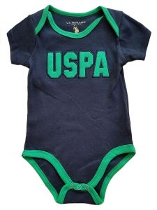 US Polo Association Baby Boys Blue Green Trim Short Sleeve Bodysuit 3-9M