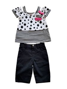 Baby Girls Black White Stripe Pink Bow Top Twill Capri 2pc Outfit 12M-24M