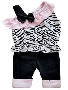 Baby Girls Light Pink Black Zebra Print 2pc Drop Shoulder Cuff Pants Outfit 3-9M