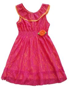 Little Girls Fuchsia Orange Lace Overlay Sleeveless Summer Dress 4-6