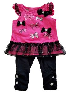 Baby Girls Fuchsia Black Sparkle Mesh Bow 2pc Top Leggings Outfit 3M-9M