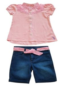 US Polo Little Girls Dusty Pink Denim 2pc Summer Top Shorts Outfit 4-6
