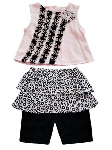 Baby Girls Pink Black Animal Print 2pc Top Ruffled Shorts Summer Outfit 3-9M