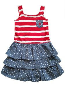US Polo Little Girls Red White Blue Stars Sleeveless Summer Patriotic Dress 4-6