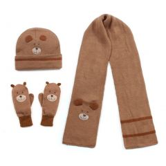 Kidorable Boys Brown Bear Hat Scarf Gloves Handmade Winter Set 3-11