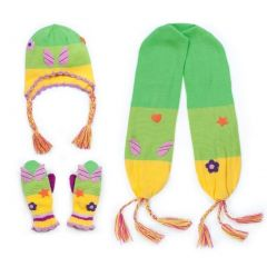 Kidorable Girls Green Fairy Hat Scarf Gloves Handmade Winter Set 3-11