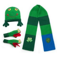 Kidorable Boys Green Frog Hat Scarf Gloves Handmade Winter Set 3-11
