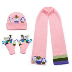 Kidorable Girls Pink Hat Scarf Gloves Handmade Winter Set 3-11