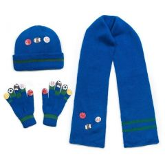 Kidorable Boys Blue Sports Hat Scarf Gloves Handmade Winter Set 3-11