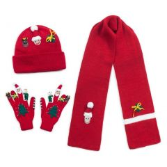 Kidorable Unisex Red Christmas Hat Scarf Gloves Handmade Winter Set 3-11