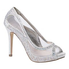 Sweetie's Shoes Silver Sheer Mesh Beaded Kylie Glamour Pumps 6.5 Womens