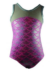 Reflectionz Big Girls Silver Pink Mermaid Scale Print Tank Leotard 8-10