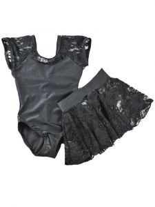 Reflectionz Girls Black Lace Cap Sleeve Leotard Skirt  Set 2-8